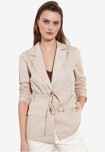 Trendyol beige Drawstring Waist Button Down Blazer 89287AAE9B4C9FGS_1