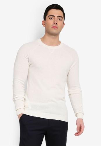 MANGO Man white Textured Cotton Sweater 34BD6AA01FE464GS_1
