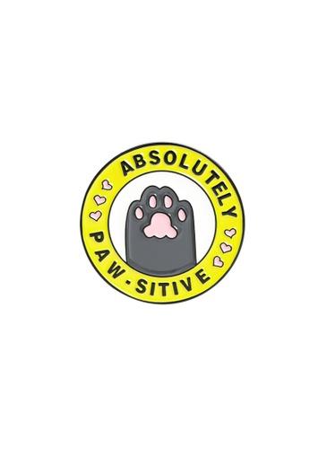 Kings Collection yellow Cartoon Cat Paw Enamel Pins (KCPN1049) 829E7AC3DE744DGS_1