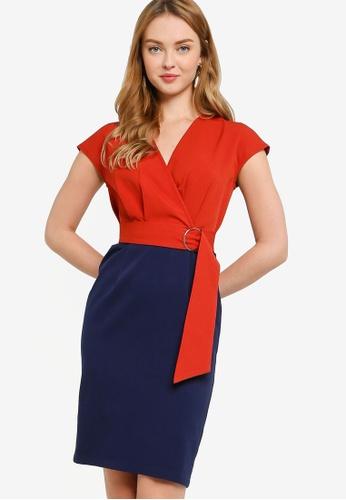 ZALORA WORK multi Side Wrap Contrast Dress 44AD1AAD3B04C1GS_1