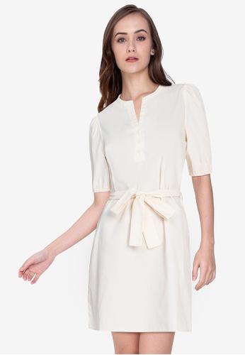ZALORA WORK beige Notch Neck Puff Sleeves Dress 68772AA6288C4FGS_1