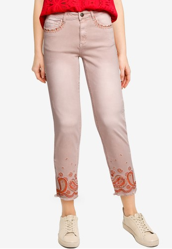Desigual pink Cropped Skinny Jeans 6205AAA5D9AFE7GS_1