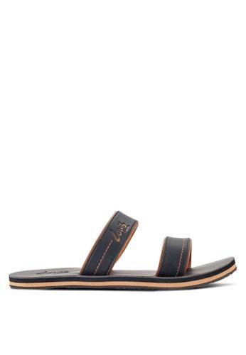 Louis Cuppers black Double Strap Sandals LO977SH27RDGMY_1