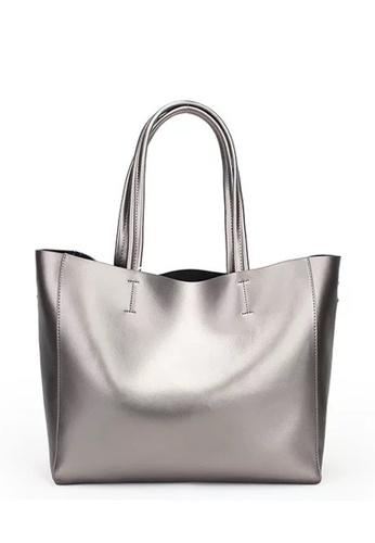 Twenty Eight Shoes silver VANSA Metallic Cow Leather Tote Bag VBW-Tb8689 7DAF3AC39435FBGS_1