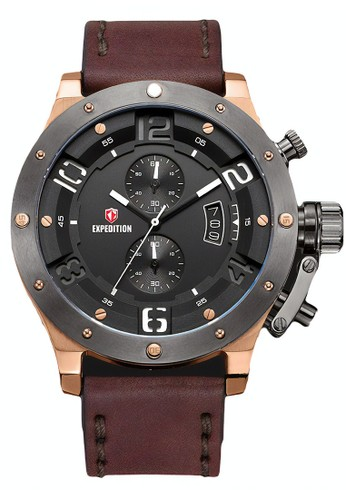 Expedition brown Expedition Jam Tangan Pria - Brown Grey Rosegold - Leather Strap - 6381 MCLGRBA 49F24ACB8BB8EBGS_1