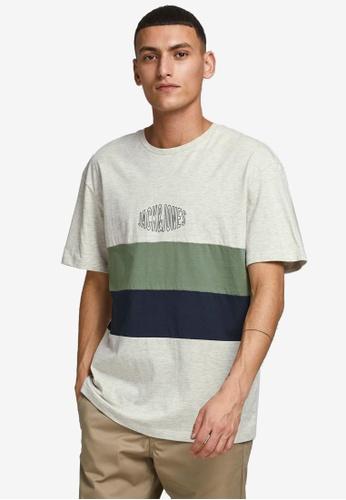 JACK & JONES white Color Block T-Shirt 7F8B8AA7E1820BGS_1