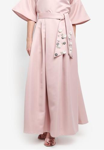 harga Embellished Belt Flare Skirt Zalora.co.id