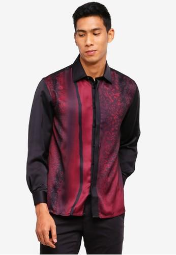 Gene Martino black and red Men's Batik Shirt 8C985AA79708CEGS_1