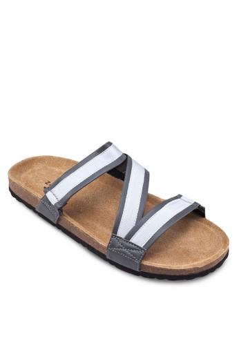 撞色Z字帶拖鞋zalora 手錶, 鞋, 鞋