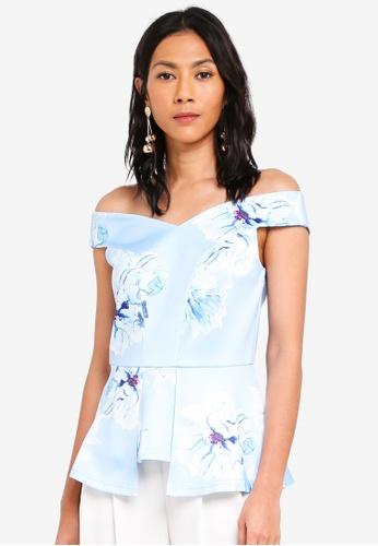 bYSI blue Floral Print Peplum Top 1CF1CAAC87FE3AGS_1