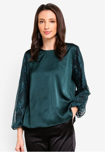 Zalia black and green Lace Piece Top 8A04DAA7E36D63GS_1