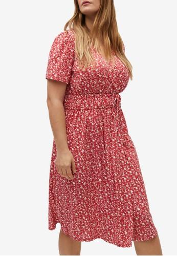 Violeta by MANGO pink Plus Size Print Wrap Dress AF40BAA89520FEGS_1