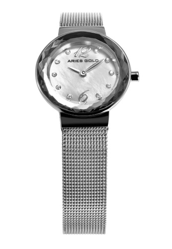 Aries Gold silver Aries Gold Enchant Jewel Silver Stainless Steel Mesh Watch 36A49ACB6BAF1BGS_1