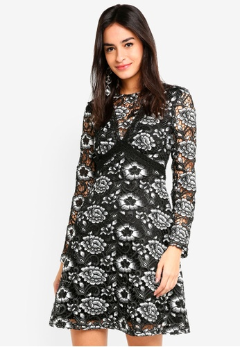 09968758fee0 Dorothy Perkins black Long Sleeve Heavy Lace Skater Dress 41967AA42FCF04GS_1
