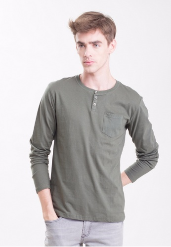 Drum 3 Button Long Sleeve Tee With Pocket-AGN DR425AA0RYCQMY_1