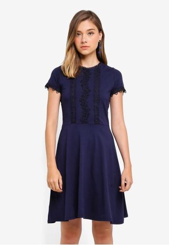 Dorothy Perkins navy Navy Crochet Trim Dress 5D22CAAB7728E9GS_1