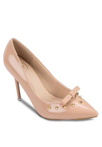 鉚釘蝴蝶結亮面高跟鞋, 女鞋, 厚底高esprit台灣官網跟鞋