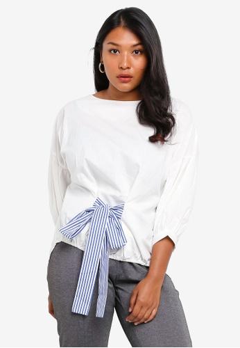 CURVA FABULOUS white Ms Shakeela Doll Sleeve Top A6B6AAAA1F387FGS_1