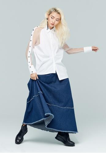 iROO white Fabric Contrast Blouse E3F8CAAEAE1DD1GS_1