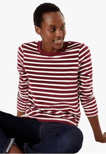MARKS & SPENCER red Velour Striped Sweatshirt 358B1AA339634DGS_1