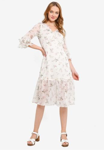 Hopeshow beige V-Neck Ruffle Cuff Floral Summer Dress 6DF65AAAEA464EGS_1