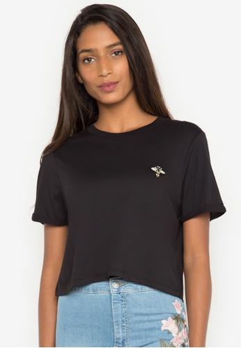 TOPSHOP black Bee Appliquet-Shirt TO099AA0JE8UPH_1