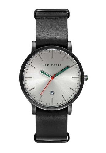TED BAKER black Ted Baker Ensorr - Black/Silver Leather Watch TE856AC40JJNSG_1