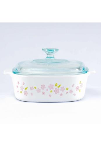 Corningware white Corningware 5L Square Ceramic Casserole with Glass Lid - Sakura 5CFDBHL3778173GS_1