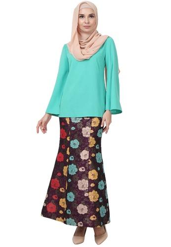 Djamila Blouse & Skirt Set from POPLOOK in Green