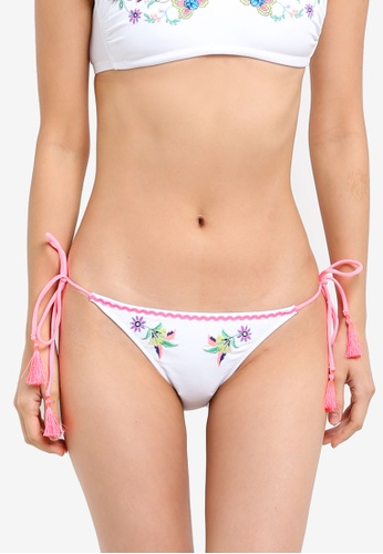 TOPSHOP white Embroidered Tie Side Bikini Bottom TO412US0SHHCMY_1