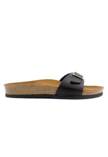 SoleSimple 黑色 Lyon - 黑色 百搭/搭帶 全皮軟木涼鞋 8D36ASH46B5C6EGS_1
