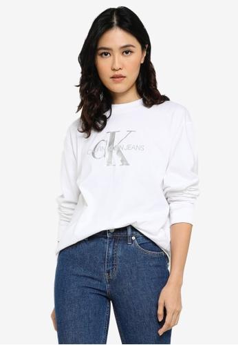 Calvin Klein white Glossy Monogram Tee - CK Jeans 858ECAAA9ADF69GS_1