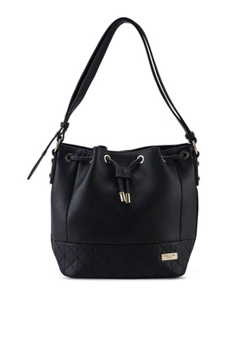 Unisa black Faux Leather Quilted Bucket Bag 5AD5DACEE12290GS_1