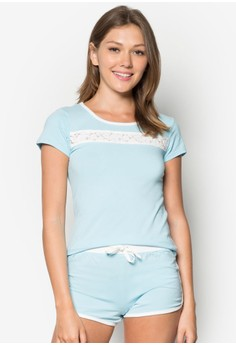 Short Sleeves Lace 2-piece Pajama Set