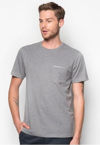 滾邊口袋Tee, 服飾, esprit 西裝素色T恤