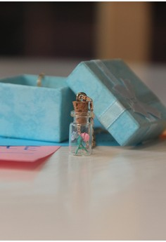 Craftika's Bottled Pink and Blue Origami Rose Necklace