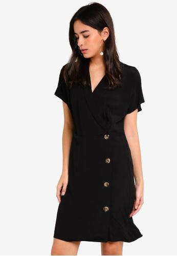 Vero Moda black Riga Button Short Dress 8E7EDAAF9B793DGS_1