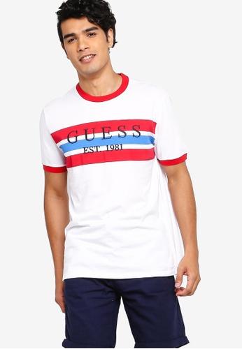 Guess 白色 Guess 條紋LOGO圓領T恤 ECA07AA2ED9A97GS_1