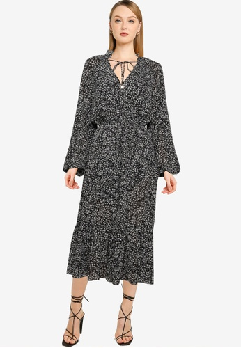 The Fated black Bella Midi Dress 089D0AA116D999GS_1