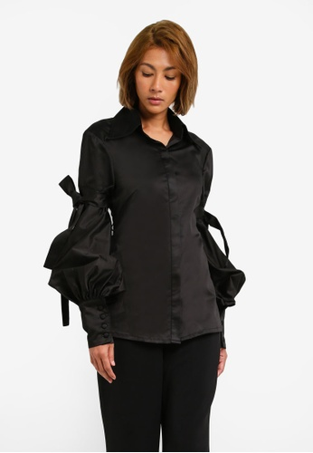 AfiqM black Bishop Sleeve Shirt AF546AA0S2MDMY_1
