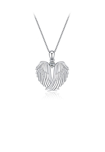 Glamorousky white 925 Sterling Silver Fashion Angel Wing Pendant with Cubic Zirconia and Necklace EFDB8AC85710D5GS_1