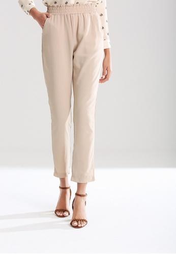 London Rag beige Elastic Waist Pants 68D5FAAA86FE47GS_1
