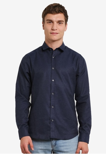 Only & Sons navy Only & Sons Baily Melange Shirt ON662AA0S497MY_1