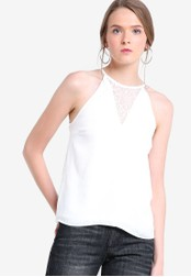 Something Borrowed white Cut In Lace Panel Swing Top 1BDD3AA61E3EBFGS_1