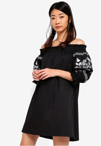 Something Borrowed black Embroidered Smocked Off Shoulder Dress A443BAAD5955DBGS_1