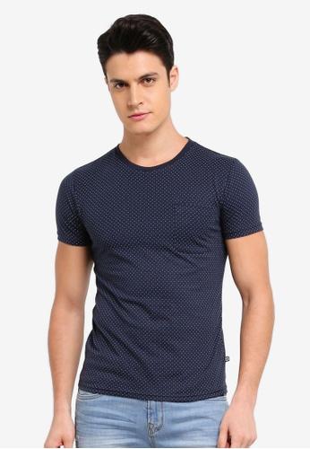 Penshoppe 海軍藍色 圓點印花T恤 F01F5AA386F458GS_1