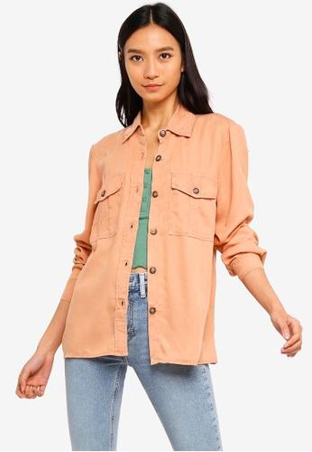 TOPSHOP pink Slim Utility Shirt 0FD67AA39D08B7GS_1