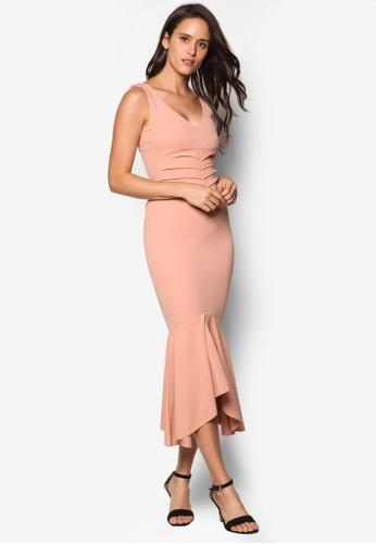 褶飾荷葉狀裙擺V 領連身esprit retail裙, 服飾, 洋裝