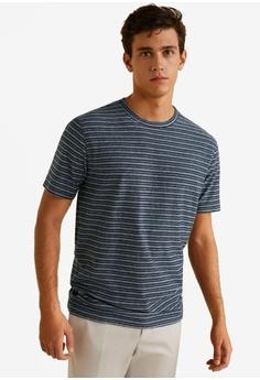 a54631745674 MANGO Man blue Striped Cotton T-Shirt BCD28AACA615E5GS 1