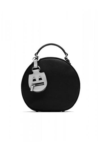 LULUGIFT black Lulugift Special Decorative Round Postman Shoulder Bag Black LU989AC0RAN8MY_1